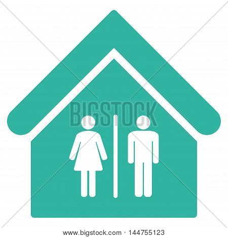 Toilet Building icon. Vector style is flat iconic symbol, cyan color, white background.
