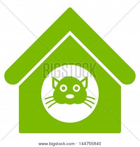 Cat House icon. Vector style is flat iconic symbol, eco green color, white background.