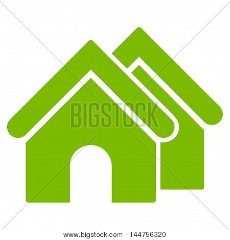 Real Estate icon. Vector style is flat iconic symbol, eco green color, white background.