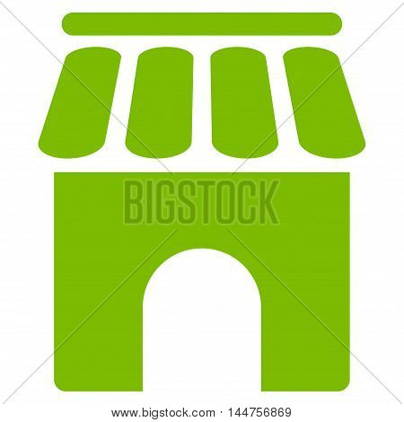 Shop Building icon. Vector style is flat iconic symbol, eco green color, white background.