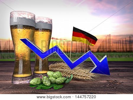 declining beer consumption in Germany - 3D render