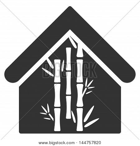 Bamboo House icon. Vector style is flat iconic symbol, gray color, white background.