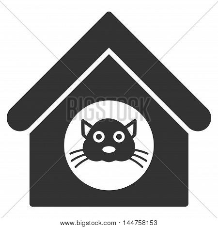 Cat House icon. Vector style is flat iconic symbol, gray color, white background.