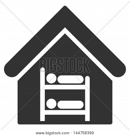 Hostel icon. Vector style is flat iconic symbol, gray color, white background.