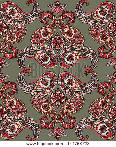Flourish Tiled Pattern. Abstract Floral Geometric Seamless Oriental Background. Fantastic Flowers An