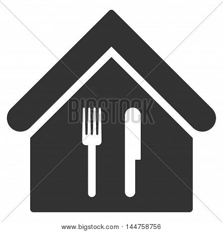 Restaurant icon. Vector style is flat iconic symbol, gray color, white background.