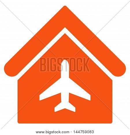Aircraft Hangar icon. Vector style is flat iconic symbol, orange color, white background.