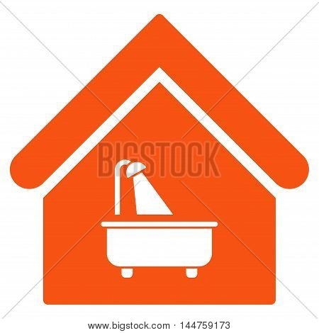 Bathroom icon. Vector style is flat iconic symbol, orange color, white background.