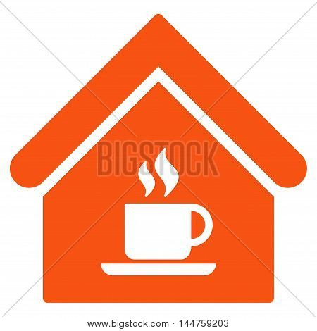 Cafe House icon. Vector style is flat iconic symbol, orange color, white background.