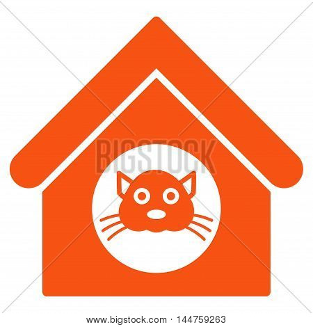 Cat House icon. Vector style is flat iconic symbol, orange color, white background.