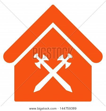 Guard Office icon. Vector style is flat iconic symbol, orange color, white background.