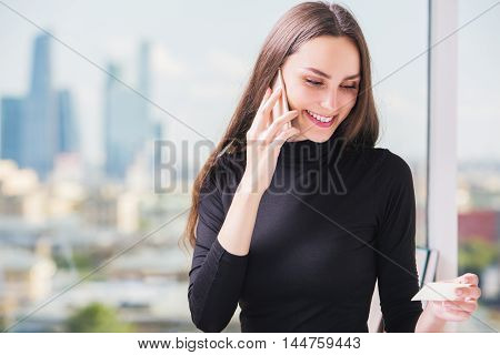 European Businesslady Making Purchase Order