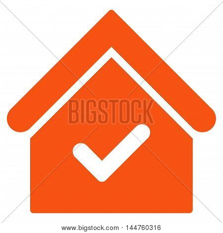 Valid House icon. Vector style is flat iconic symbol, orange color, white background.