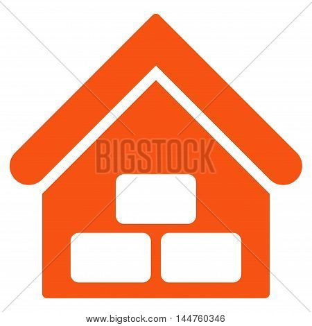 Warehouse icon. Vector style is flat iconic symbol, orange color, white background.