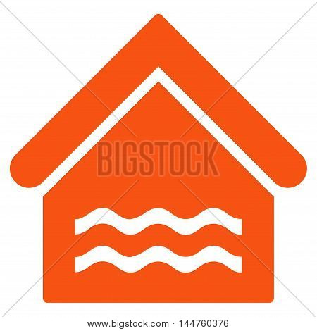 Water Pool icon. Vector style is flat iconic symbol, orange color, white background.