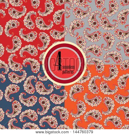 Flourish Tiled Pattern Set. Abstract Floral Geometric Seamless Oriental Background. Indian Fabric Pa