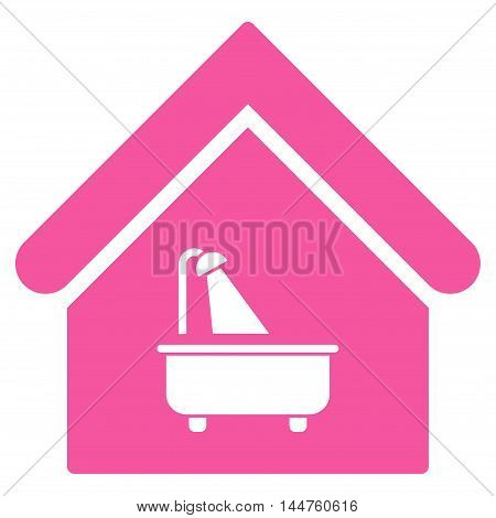 Bathroom icon. Vector style is flat iconic symbol, pink color, white background.