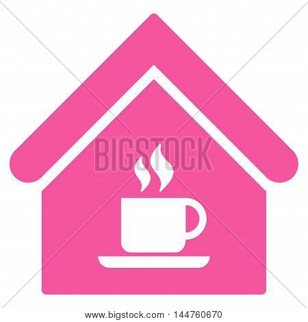 Cafe House icon. Vector style is flat iconic symbol, pink color, white background.