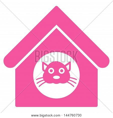 Cat House icon. Vector style is flat iconic symbol, pink color, white background.