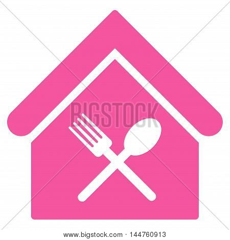 Food Court icon. Vector style is flat iconic symbol, pink color, white background.