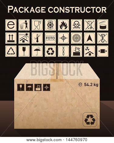 Vector Package Constructor With Box. Packaging Symbols.  Icon Set Including Waste Recycling, Fragile