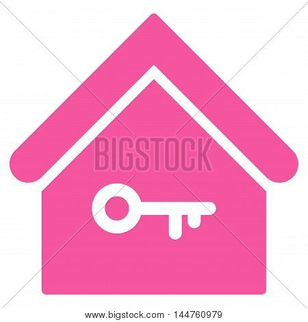 Home Key icon. Vector style is flat iconic symbol, pink color, white background.