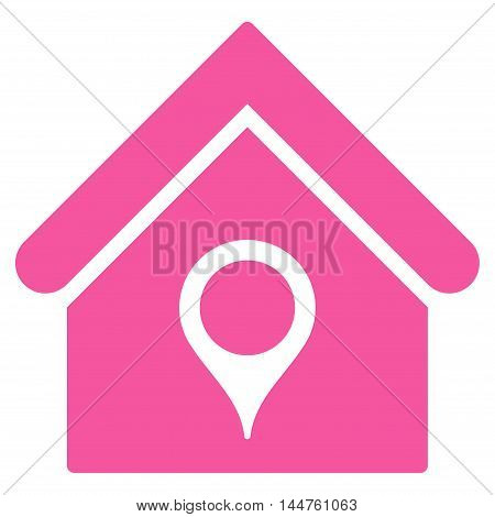 House Location icon. Vector style is flat iconic symbol, pink color, white background.