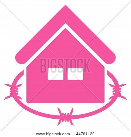 Prison Building icon. Vector style is flat iconic symbol, pink color, white background.