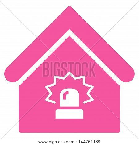Realty Alarm icon. Vector style is flat iconic symbol, pink color, white background.