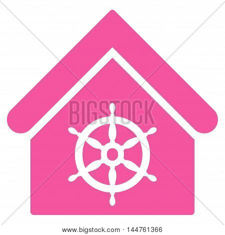 Steering Wheel House icon. Vector style is flat iconic symbol, pink color, white background.