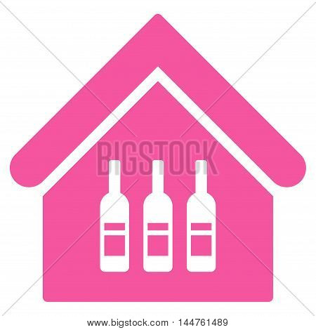 Wine Bar icon. Vector style is flat iconic symbol, pink color, white background.