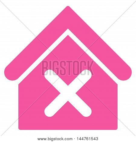 Wrong House icon. Vector style is flat iconic symbol, pink color, white background.