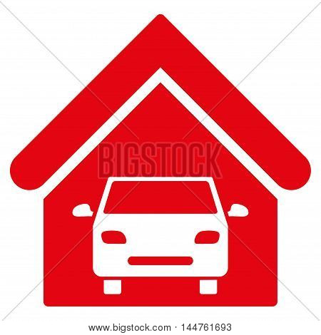 Car Garage icon. Vector style is flat iconic symbol, red color, white background.