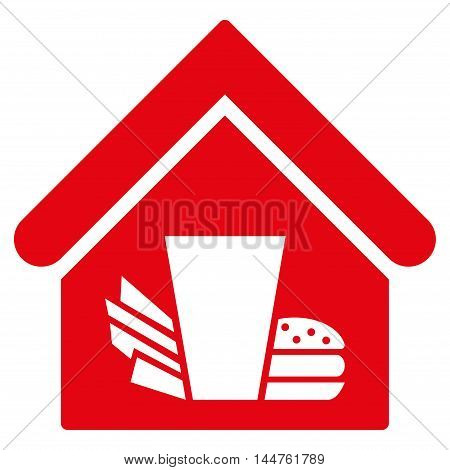 Fastfood Cafe icon. Vector style is flat iconic symbol, red color, white background.