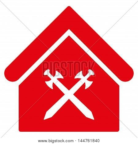 Guard Office icon. Vector style is flat iconic symbol, red color, white background.