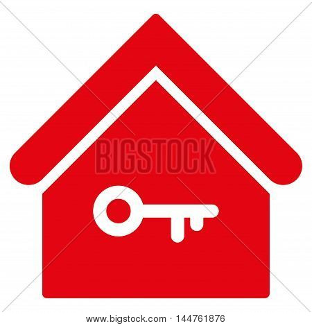 Home Key icon. Vector style is flat iconic symbol, red color, white background.