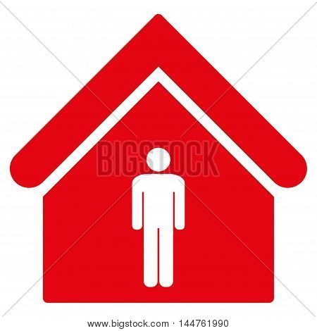 Man Toilet Building icon. Vector style is flat iconic symbol, red color, white background.