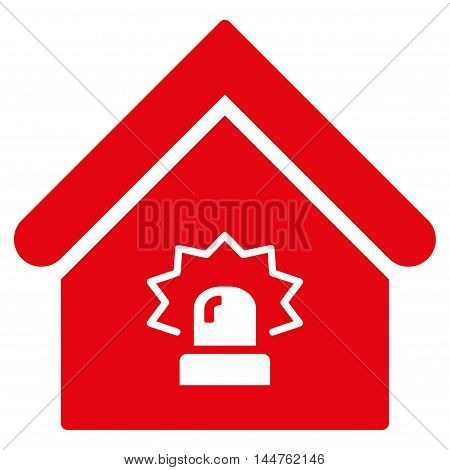 Realty Alarm icon. Vector style is flat iconic symbol, red color, white background.