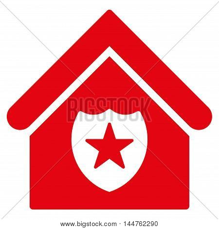 Realty Protection icon. Vector style is flat iconic symbol, red color, white background.