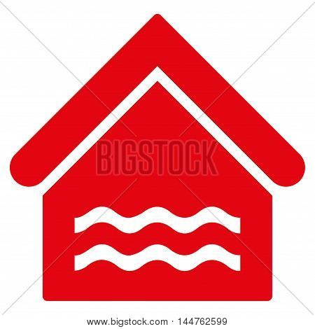Water Pool icon. Vector style is flat iconic symbol, red color, white background.