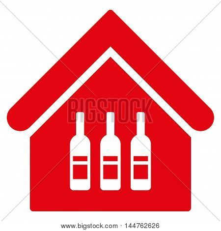 Wine Bar icon. Vector style is flat iconic symbol, red color, white background.