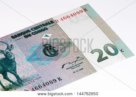 20 centimes bank note of Congo. Centimes on of the currencies of Congo