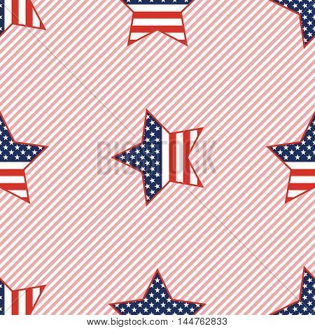 Usa Patriotic Stars Seamless Pattern On Red Stripes Background. American Patriotic Wallpaper With Us