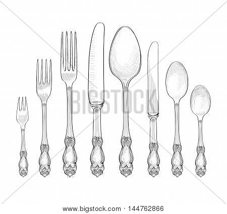 Table setting set. Fork Knife Spoon sketch set. Cutlery hand drawing collection. Catering engraved illustration. Restraunt service. Banquet still life