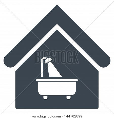 Bathroom icon. Vector style is flat iconic symbol, smooth blue color, white background.