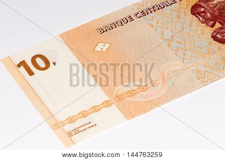 10 Congoles francs bank note of Congo. Congoles franc is the national currency of Congo