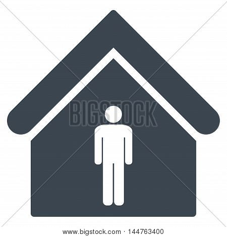 Man Toilet Building icon. Vector style is flat iconic symbol, smooth blue color, white background.
