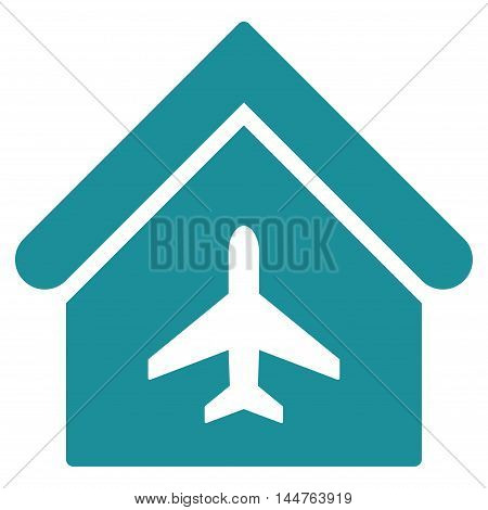 Aircraft Hangar icon. Vector style is flat iconic symbol, soft blue color, white background.