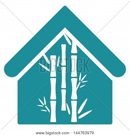 Bamboo House icon. Vector style is flat iconic symbol, soft blue color, white background.
