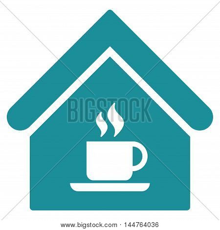 Cafe House icon. Vector style is flat iconic symbol, soft blue color, white background.